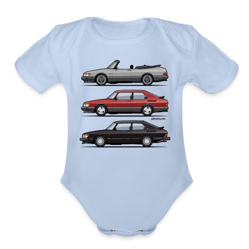 Saab 900 Turbo Trio - Organic Short Sleeve Baby Bodysuit