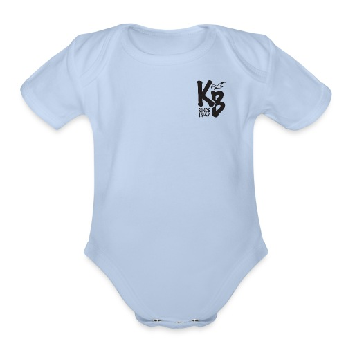 Kure Beach Day-Black Lettering-Front and Back - Organic Short Sleeve Baby Bodysuit