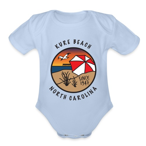 Kure Beach Sunrise-Black Lettering-Front Only - Organic Short Sleeve Baby Bodysuit