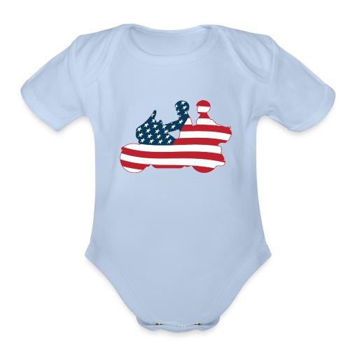 usa biker couple clr Tsmall - Organic Short Sleeve Baby Bodysuit