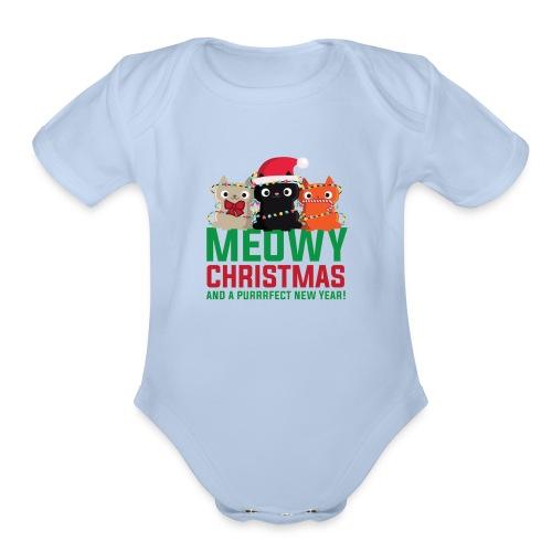 Meowy Christmas - Organic Short Sleeve Baby Bodysuit