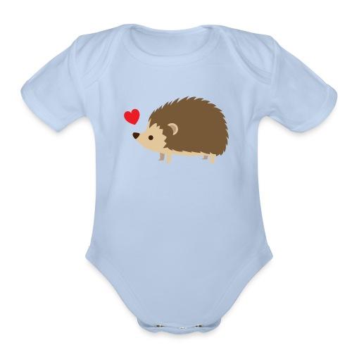 Hedgehog with Heart - Organic Short Sleeve Baby Bodysuit