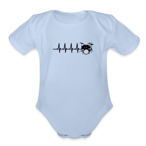 Drums Heartbeat Funny drummer - Organic Short Sleeve Baby Bodysuit