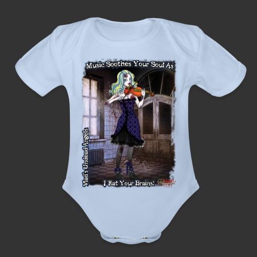 Zombie Violinist Full - Organic Short Sleeve Baby Bodysuit