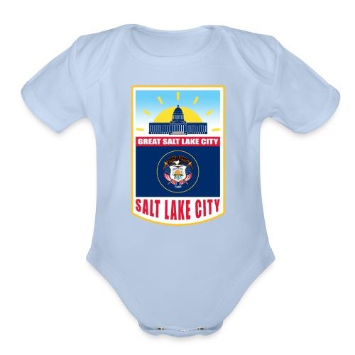 Utah - Salt Lake City - Organic Short Sleeve Baby Bodysuit