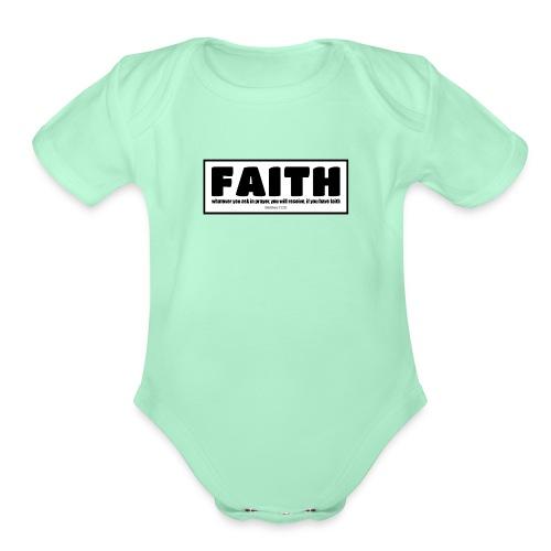 Faith - Faith, hope, and love - Organic Short Sleeve Baby Bodysuit