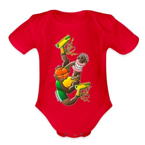Acrobatic basketball player performing a high jump - Organic Short Sleeve Baby Bodysuit