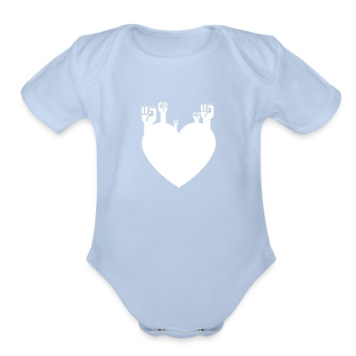Fist Heart Wht - Organic Short Sleeve Baby Bodysuit