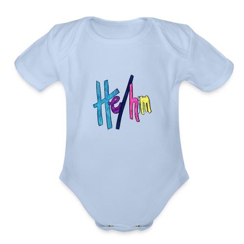 He/Him 1 - Small (Nametag) - Organic Short Sleeve Baby Bodysuit