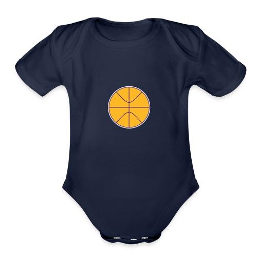 Basketball purple and gold - Organic Short Sleeve Baby Bodysuit
