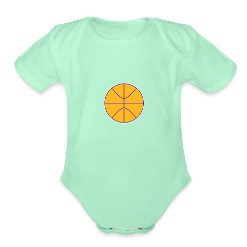 Basketball purple and gold - Organic Short Sleeve Baby Bodysuit
