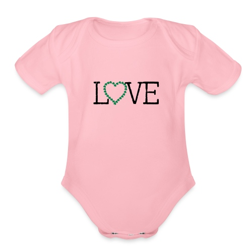 LOVE irish shamrocks - Organic Short Sleeve Baby Bodysuit
