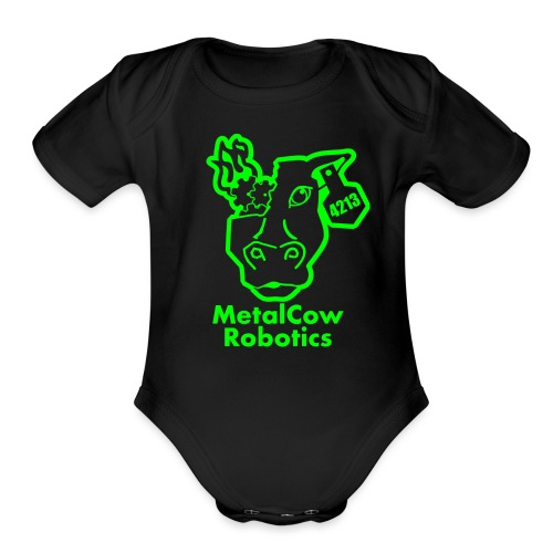 MetalCowLogo GreenOutline - Organic Short Sleeve Baby Bodysuit