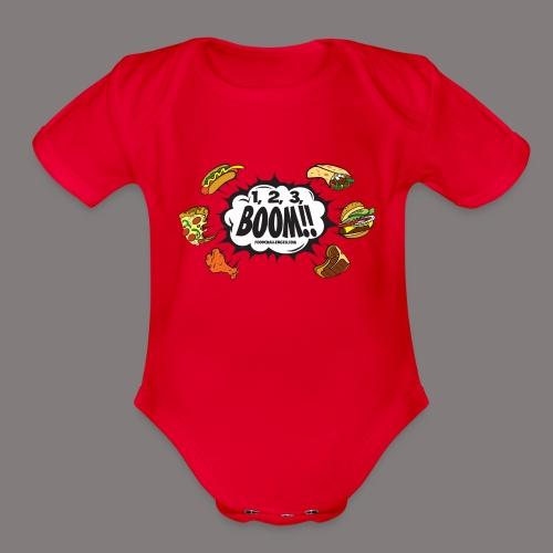 123_BOOM_FINAL Spreadshir - Organic Short Sleeve Baby Bodysuit