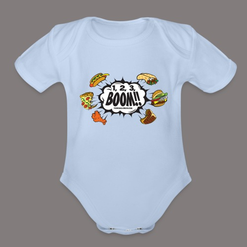 123_BOOM_FINAL Spreadshir - Organic Short Sleeve Baby Bodysuit