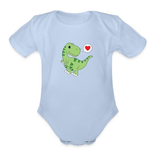 Dinosaur Love - Organic Short Sleeve Baby Bodysuit