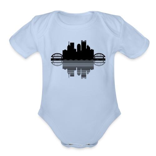 Pittsburgh Skyline Reflection (Black) - Organic Short Sleeve Baby Bodysuit