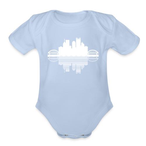 Pittsburgh Skyline Reflection - Organic Short Sleeve Baby Bodysuit