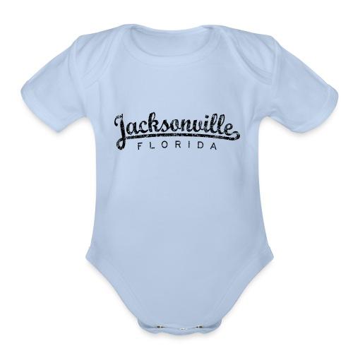 Jacksonville, Florida Classic (Ancient Black) - Organic Short Sleeve Baby Bodysuit
