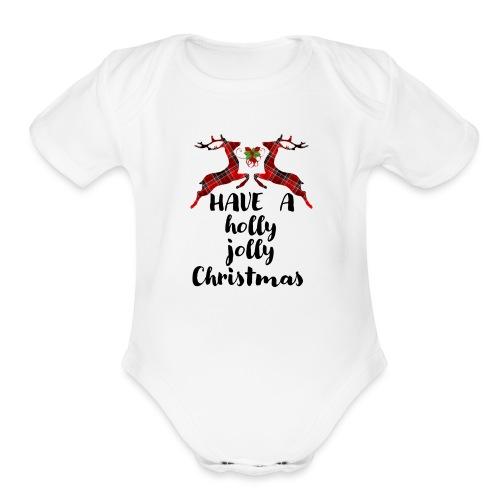 Holly Jolly Christmas - Organic Short Sleeve Baby Bodysuit