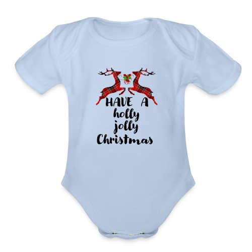 Holly Jolly Christmas - Organic Short Sleeve Baby Bodysuit