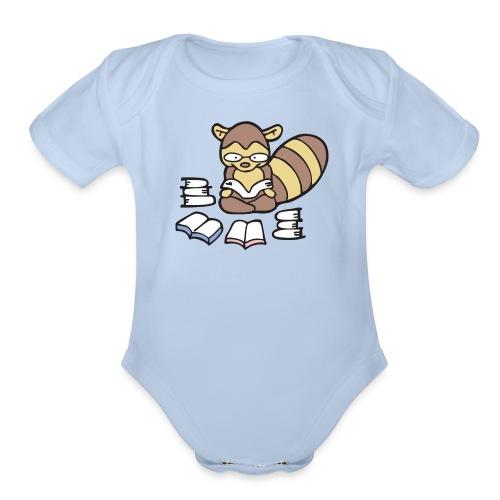 Reading Raccoon - Organic Short Sleeve Baby Bodysuit