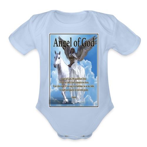 Angel of God, My guardian Dear (version with sky) - Organic Short Sleeve Baby Bodysuit