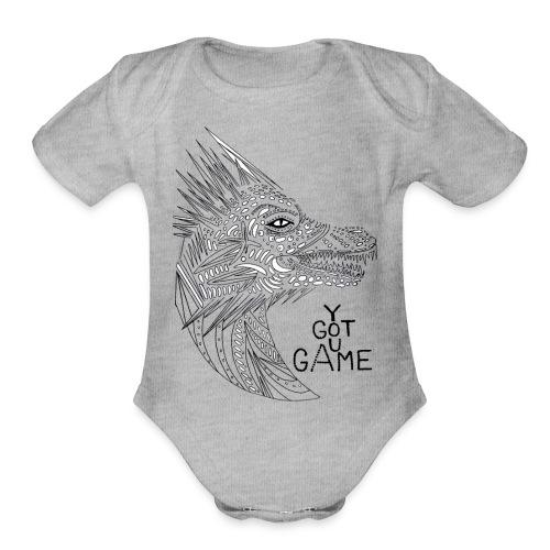 "Dragon ""you got game"" - Organic Short Sleeve Baby Bodysuit"