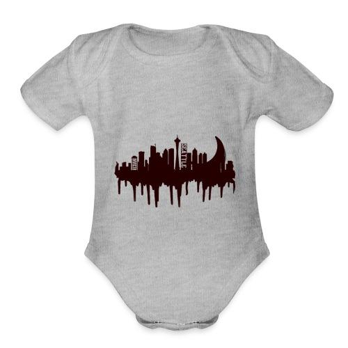 Seattle Moon and Skyline - Organic Short Sleeve Baby Bodysuit