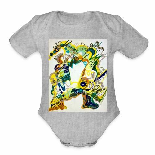 monster chaos - Organic Short Sleeve Baby Bodysuit