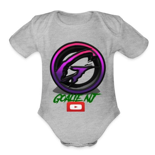 goalie nj logo - Organic Short Sleeve Baby Bodysuit