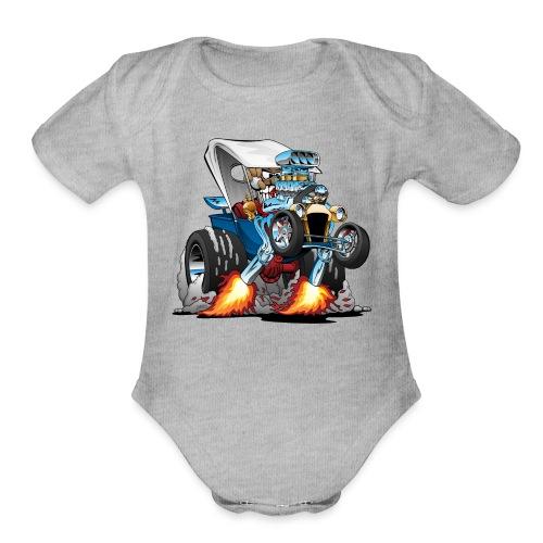 Custom T-bucket Roadster Hotrod Cartoon - Organic Short Sleeve Baby Bodysuit