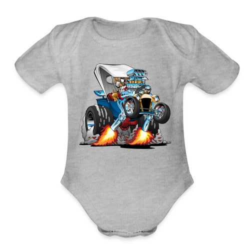 Custom T-bucket Roadster Hotrod Cartoon - Organic Short Sleeve Baby Bodysuit