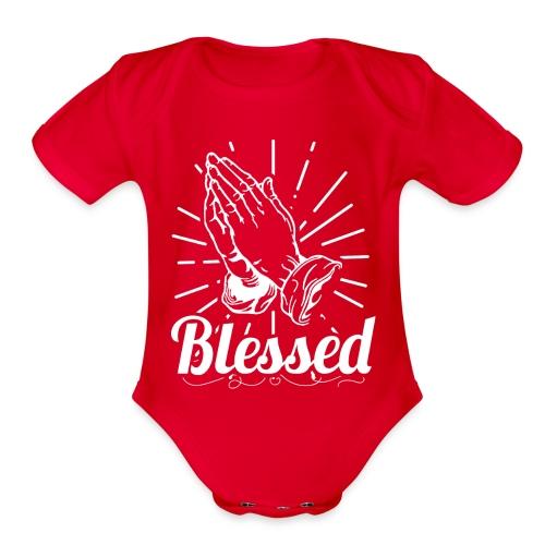 Blessed (White Letters) - Organic Short Sleeve Baby Bodysuit