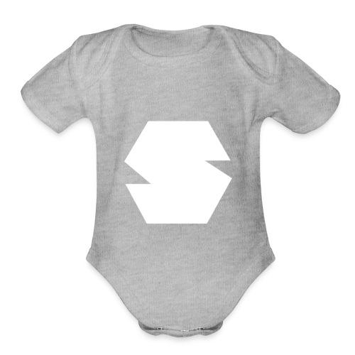 Species Logo White - Organic Short Sleeve Baby Bodysuit