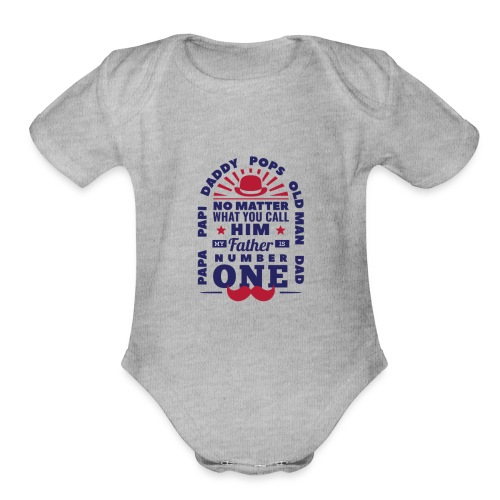 Number 1 Dad - Organic Short Sleeve Baby Bodysuit