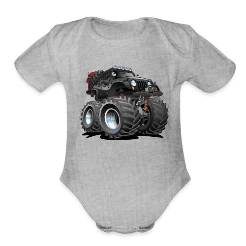 Off road 4x4 black jeeper cartoon - Organic Short Sleeve Baby Bodysuit