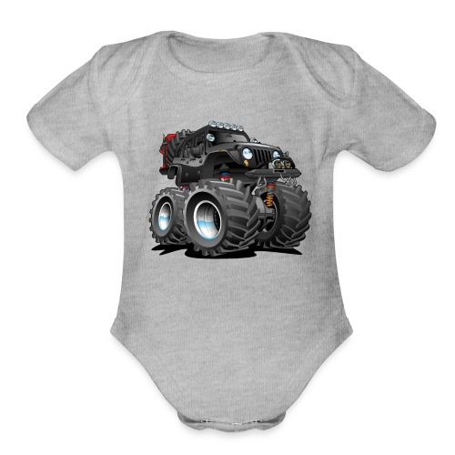 Off road 4x4 black jeeper cartoon - Organic Short Sleeve Baby Bodysuit