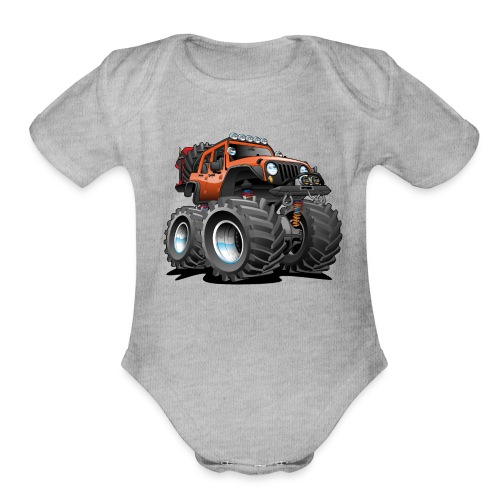 Off road 4x4 orange jeeper cartoon - Organic Short Sleeve Baby Bodysuit