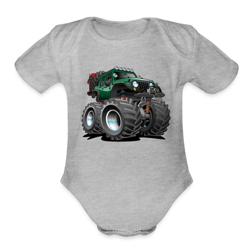Off road 4x4 green jeeper cartoon - Organic Short Sleeve Baby Bodysuit