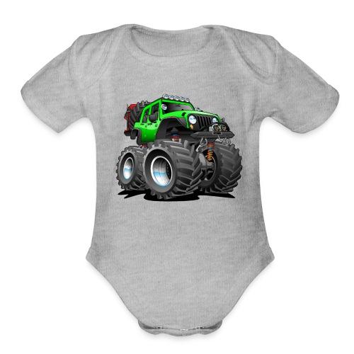 Off road 4x4 gecko green jeeper cartoon - Organic Short Sleeve Baby Bodysuit