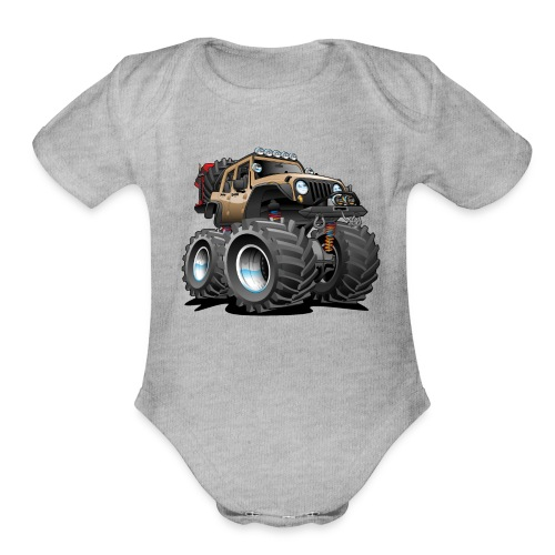 Off road 4x4 desert tan jeeper cartoon - Organic Short Sleeve Baby Bodysuit