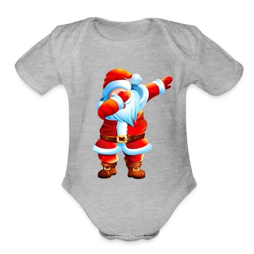 Dabbing Santa Shirt Christmas Boys Kids - Organic Short Sleeve Baby Bodysuit