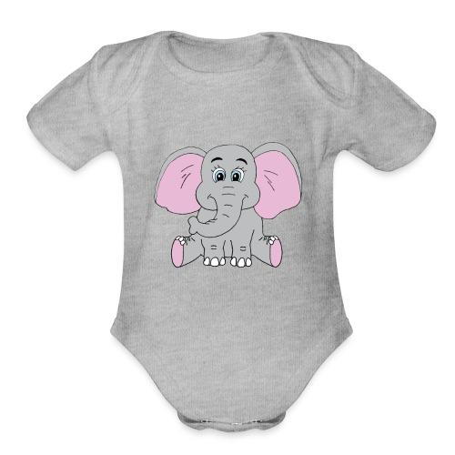 Cute Baby Elephant - Organic Short Sleeve Baby Bodysuit