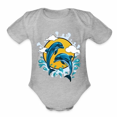Dolphins jumping with sun - Organic Short Sleeve Baby Bodysuit