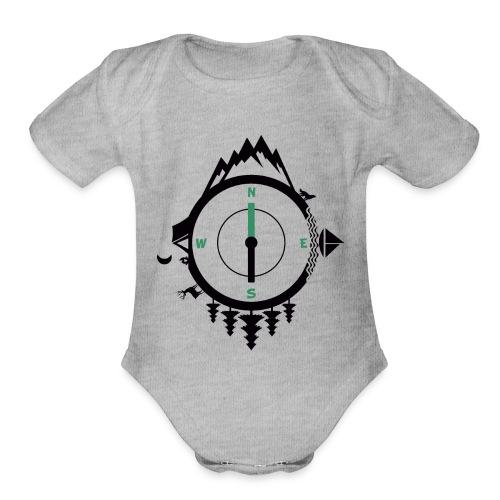compass travel - Organic Short Sleeve Baby Bodysuit