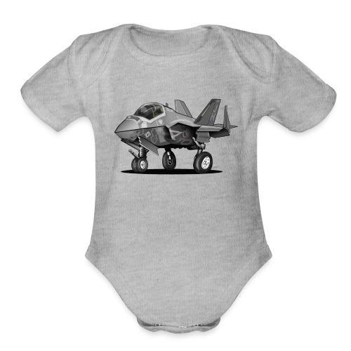 F-35C Lightning II Joint Strike Fighter Il Cartoon - Organic Short Sleeve Baby Bodysuit
