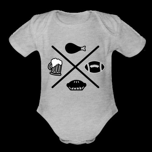 Man's Thanksgiving Shirt, Football & Beer Shirt - Organic Short Sleeve Baby Bodysuit