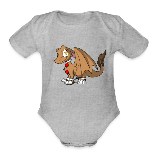 Gingerbread SD Furry Dragon - Organic Short Sleeve Baby Bodysuit