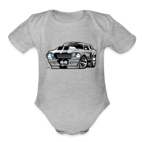 Classic Sixties American Muscle Car Cartoon - Organic Short Sleeve Baby Bodysuit